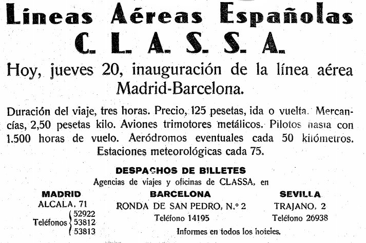 This advertising, of 1929, announces the opening of the lines to Barcelona and Seville.
