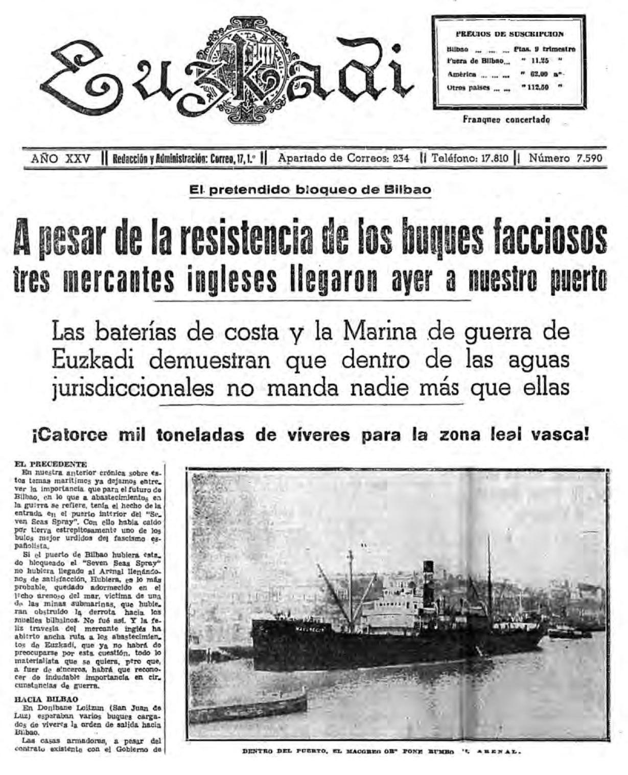 Portada del diario Euskadi informando d ella ruptura del bloqueo de los insurrectos por parte de buques británicos