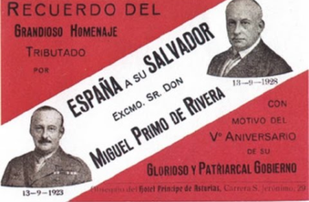 A ticket to a tribute to Primo de Rivera