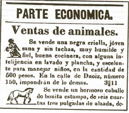 """Anuncio de """"animales"""" (negra y caballo) 1839"""