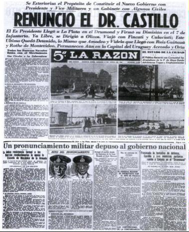Noticia de prensa sobre el golpe de 1943