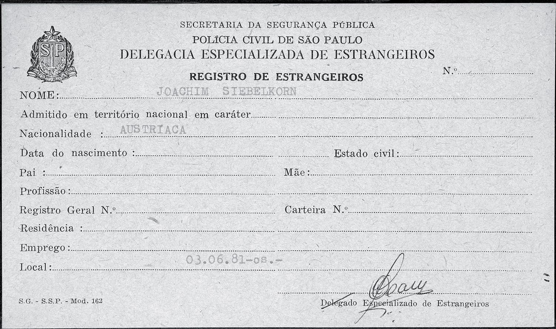 Ficha de Joachim Fiebelkorn en el Registro de Extranjeros de Sao Paulo.