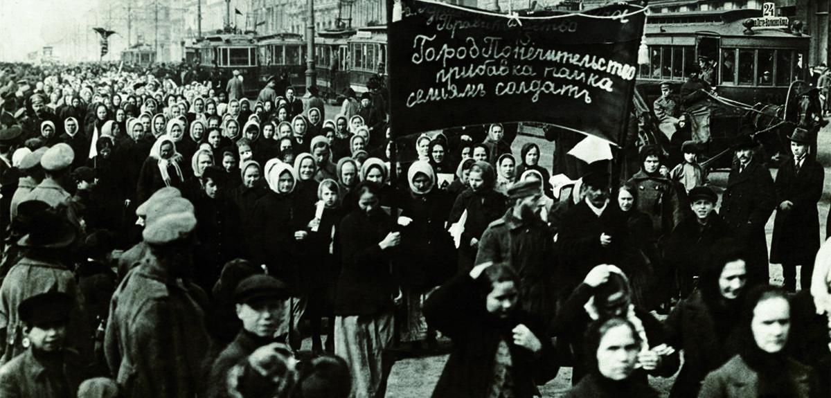 Russian Women Marching in Street