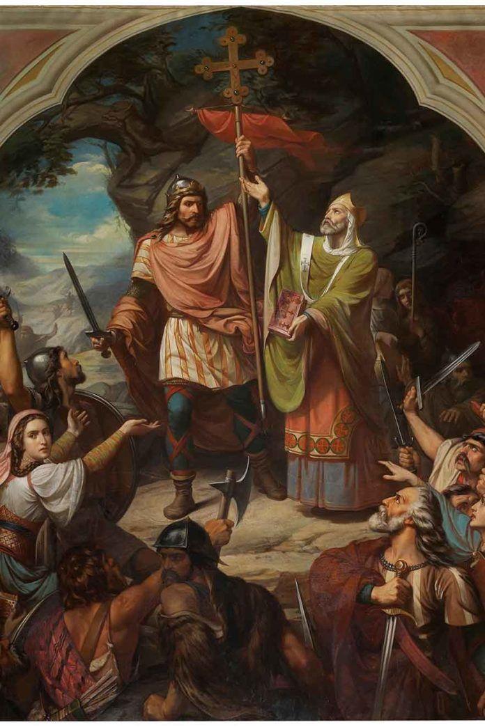 Don-Pelayo en Covadonga-Federico-Madrazo-1855 museo del Prado