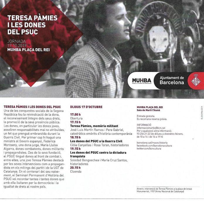 Jornada MUHBA. Teresa Pàmies y las mujeres del PSUC